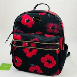 New! Kate Spade Large Poppy Nylon Backpack Floral